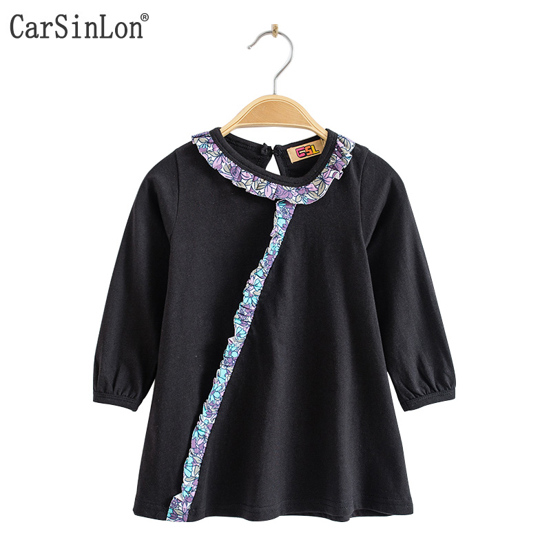 Carsinlon 2017 Autumn Girls T shirt Three Quarter Sleeve Cotton Patchwork Laciness O Ncek Back Button