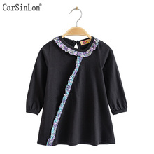 Carsinlon 2017 Autumn Girls T-shirt Three Quarter Sleeve Cotton Patchwork Laciness O-Ncek Back Button Kids t shirts Tops Black