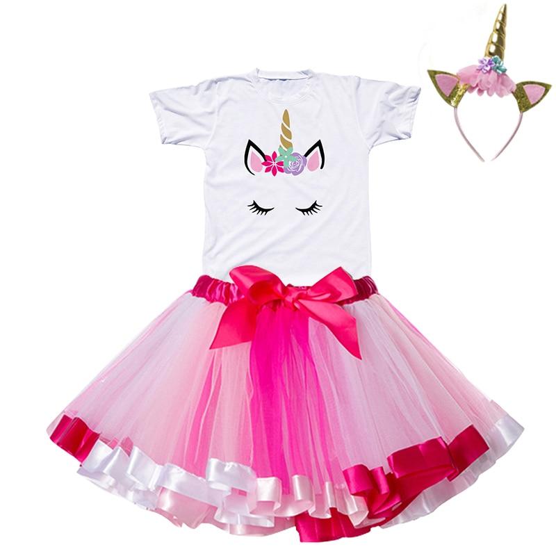 Детские платья с единорогом 2019, летнее праздничное Радужное платье принцессы с единорогом, детская одежда, бальное платье для младенцев на ...