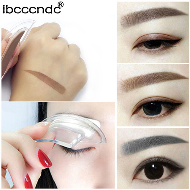 Drop shipping Eyebrow Powder Seal Eyebrow Shadow Set Waterproof Eyebrow Stamp Natural Shape Brow Stamp Powder Palette Delicated 3