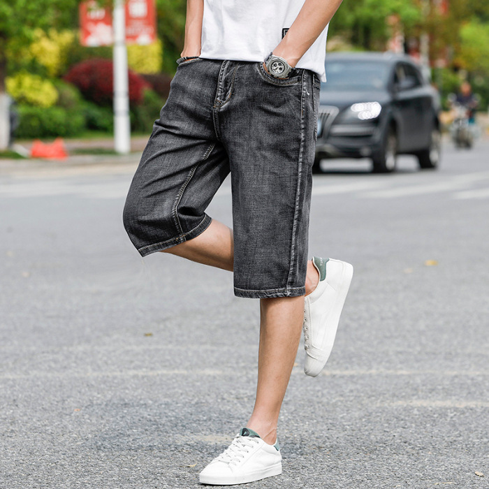 Brand Clothes 2019 Summer New Men's Stretch Short Jeans Fashion Casual Slim Fit High Quality Elastic Denim Shorts Male