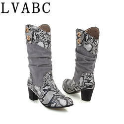 LVABC/2017 г. женские ботинки на молнии ботинки с принтом змеи модная пикантная женская обувь на квадратном каблуке с круглым носком 2018 г. Новые
