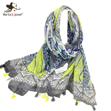 Marte&Joven Luxury Design Rhombic Geometry Printed Scarf for Women Fashion Blue&Yellow Big Size Spring/Autumn Shawls and Wraps