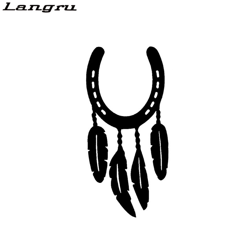 Langru Fashion Horse Shoe Feather Decals Car Stickers Vinyl Decor Accessories Jdm(China)