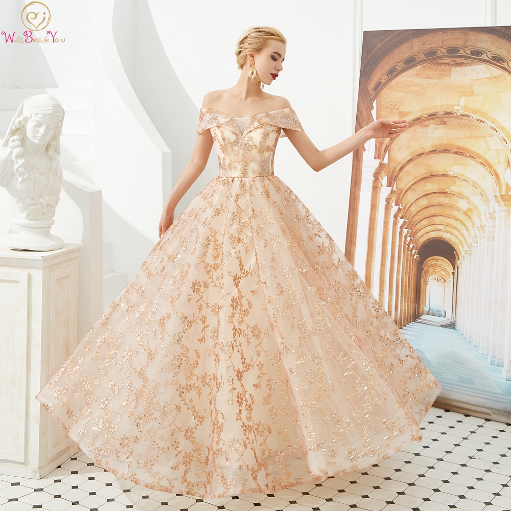 Champagne Sequined   Prom     Dresses   2019 A Line Off Shoulder Long Floor Length Evening Gown Formal Party Graduacion Walk Beside You