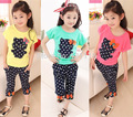 3-7Y Brand kids summer clothing sets girls 2016 casual quality fashion cat shirts +dot harem pants 2 pcs set children girls