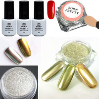 6pcs Set Shinning Mirror Nail Glitter Powder Red UV Gel Kit Nail Art Chrome Pigment With