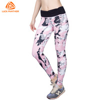 Professional Women Tight Sport Pants Camo Pink Yoga Dance Trousers Slim Collect Waist Compression High Elastic