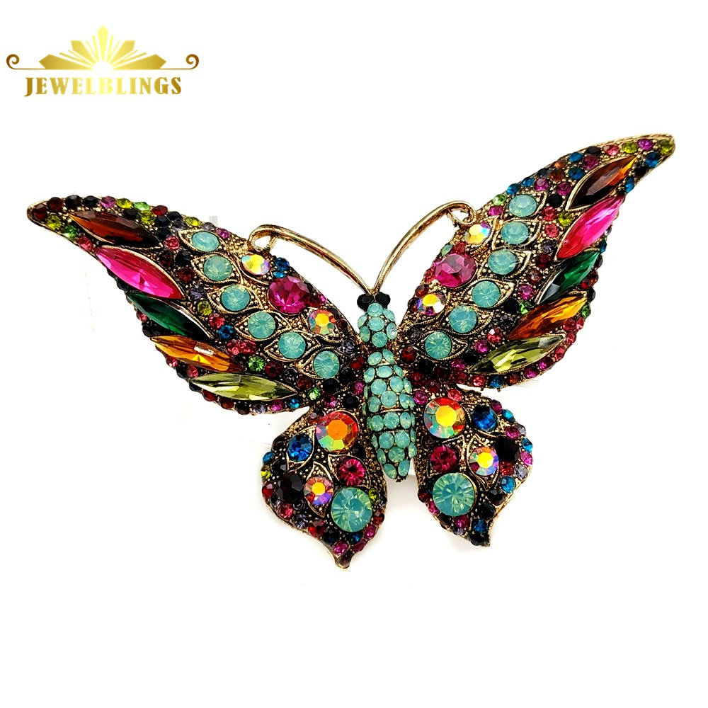 Green Yellow BUTTERFLY BROOCH PIN Orange Crystals On Gold-tone
