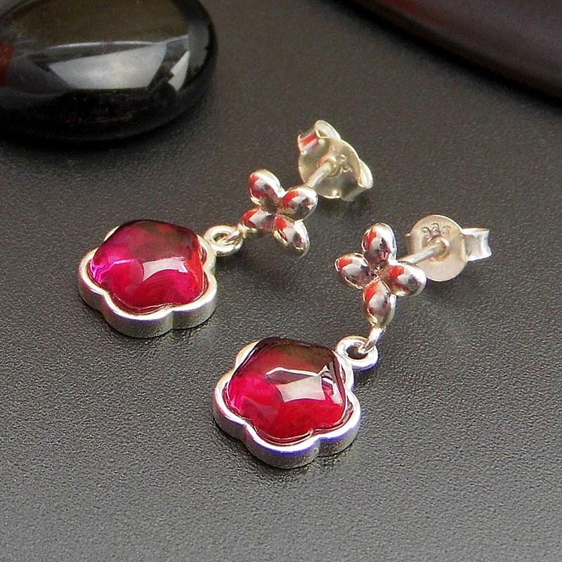 925 sterling silver jewelry Thai garnet silver flowers yellow red corundum earrings