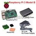 Raspberry Pi 3 Модель B 1.2 ГГц 1 ГБ ОЗУ, Wi-Fi и Bluetooth + радиаторы + ABS Черный Корпус + 5 В 2.5A ЕС/ВЕЛИКОБРИТАНИЯ/AU/США Питания питания