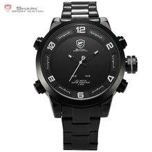 Gulper Shark Sport Watch Stainless Steel Band Waterproof Date Alarm Function Dual Time Movement Men's Quartz Wristwatch / SH363