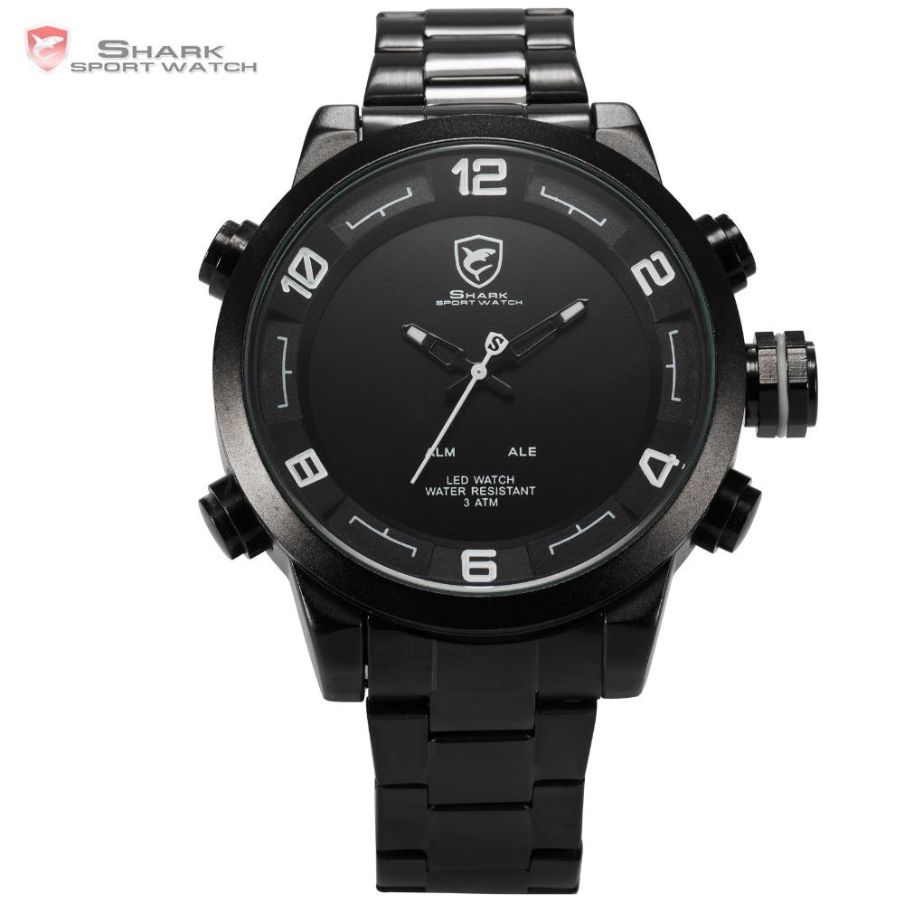 Prix pour Gulper shark sport montre en acier inoxydable bande imperméable à l'eau date alarme fonction dual time mouvement hommes de quartz montre-bracelet/sh363