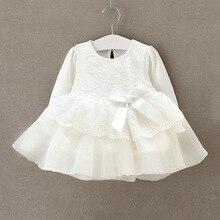 Moda Vestido Da Menina Vestido Infantil Bebe Bebê Recém-nascido Laço Branco Vestidos para Vestidos de Festa de Casamento Crianças Batismo Da Menina Da Criança 0-12 M