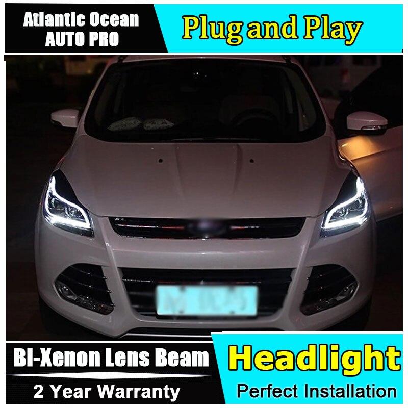 Phares xénon H7 pour ford kuga escape 2013-2016 guide de LED de style de voiture DRL HID Kit phares bi-xénon à Double lentille pour kuga