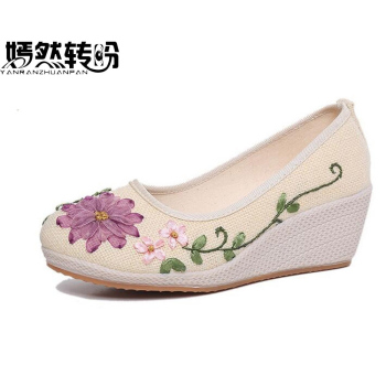 Vintage Embroidered Women Shoes Ethnic Natural Linen Shoes Slope Heel Retro Cloth Canvas Soft-soled Dance Single Shoes online shopping in pakistan with free home delivery