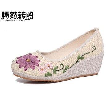 Zapatos de mujer bordados Vintage, zapatos étnicos de lino Natural, zapatos de tela Retro con talón inclinado, zapatos de baile de suela suave para mujer
