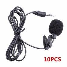 10 Uds 3,5mm en Mini micrófono Lazo de la solapa manos libres Lavalier micrófono para el ordenador portátil PC BK envío caída al por mayor