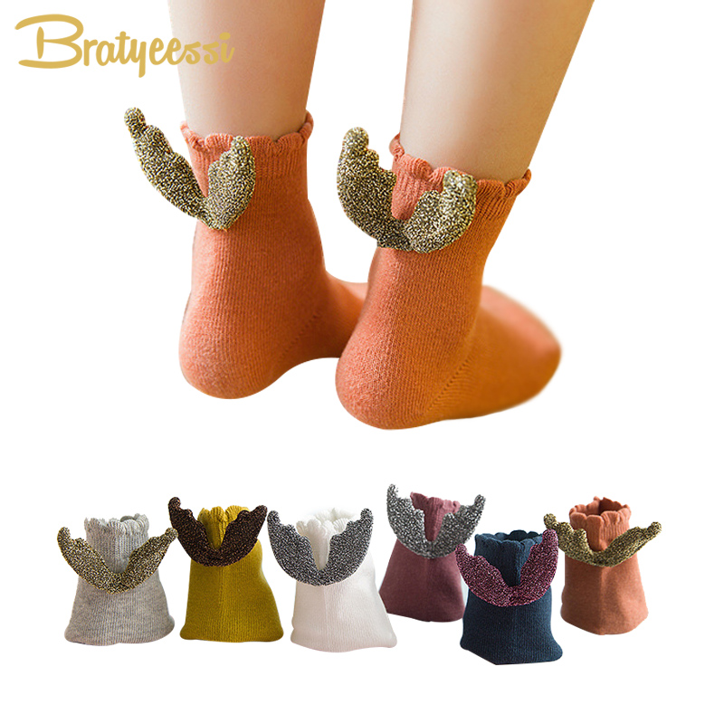 Fashion Angel Wings Children Socks for Girls Ankle Length Cotton Kids Girl Socks Cheap Baby Stuff for 1-8 Years 6 Colors 1 Pair