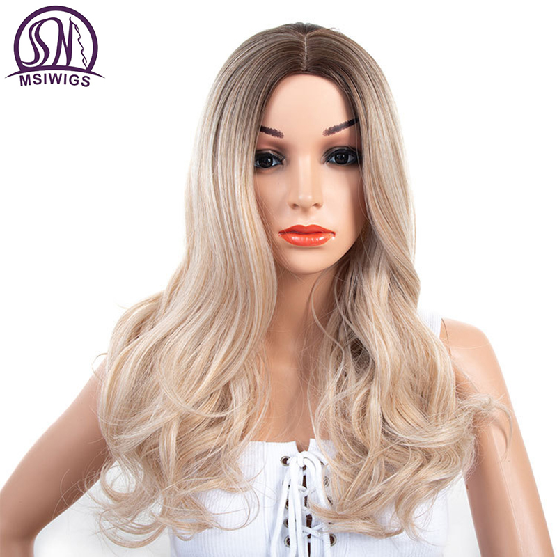 MSIWIGS Lady Synthetic Wigs Curly Long Natural Ombre Blonde Wig for Women Silver Grey 21 Inches Heat Resistant Hair