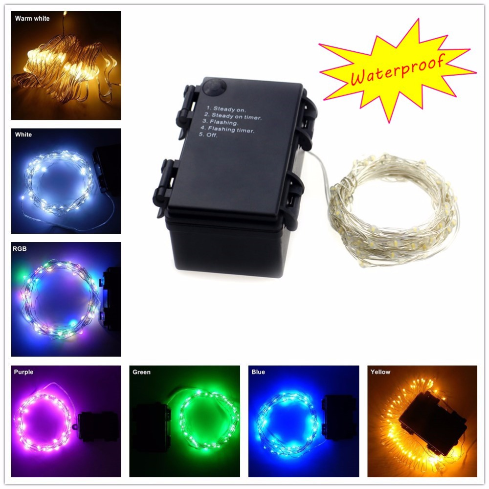 Newest Indoor And Outdoor Decorative 6m 60 Leds Waterproof Battery Operated LED String Lights Flashing LED Strip With Timer