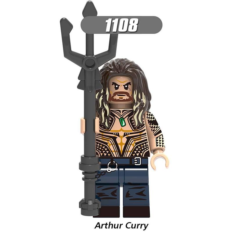 Single Sale Legoinglys Building Blocks Super Heroes Aquaman Moives Black Manta Vulko Atlanna Figures Model Toys  For Children