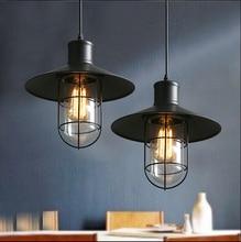 Лофт старинные люстры лампы из кованого железа клетка кулон склад свет светильник с edison лампы