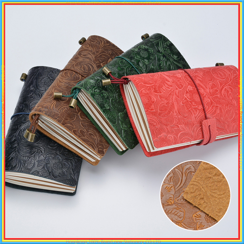 Vintage Engraving Flower Cover Travel Journal High Quality Luxury Genuine Leather Color Notebook Planner Notepad schedule 01715
