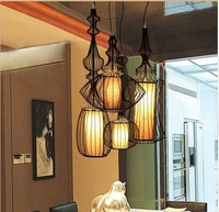 Indoor Pendant Lamps Iron Birdcage Pendant Lamp Bar Pendant Lamp Creative Restaurant Type Restoring Ancient Ways