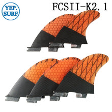 Surf FCS2 G3 Fins Bicolor Orange,Green and Black Honeycomb Fibreglass Carbon Fiber Surfboard FCSII
