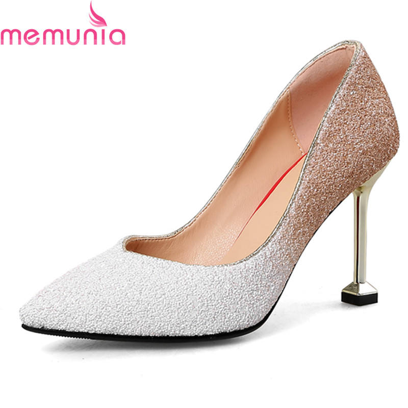 MEMUNIA spring autumn fashion elegant women pumps stiletto high heels pointed toe high quality sequined cloth bridal shoes memunia spring autumn fashion high