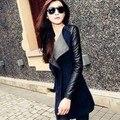 Пальто для Женщин 2016 Мода отложным Воротником Тонкий Лоскутная Весна Пальто Женщин Пальто