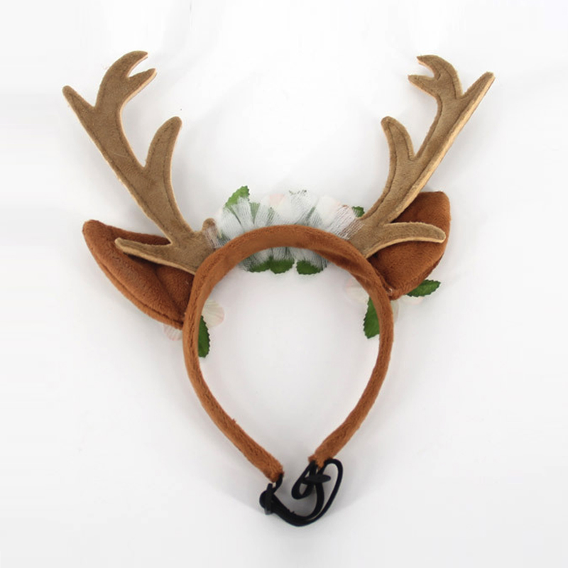 Dog Cat Pet Cosplay Dress Up Christmas Antler Reindeer Headdress Headband Deer Hat Floral Head Bands New Year Costume