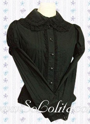 Lolita Black Long Sleeves Cotton Lolita  Blouse