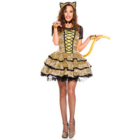 Ladies Sassy Leopard Cat Costume Adult Sexy Animal Costume Leopard Printed Halloween Carnival Party Fancy Dress