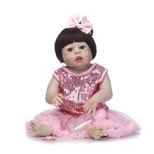 23″Full Silicone Bebe Reborn Baby Girl Princess Dolls Lifelike Newborn Babies Alive Doll for Child Bath Shower Bedtime Toy Doll