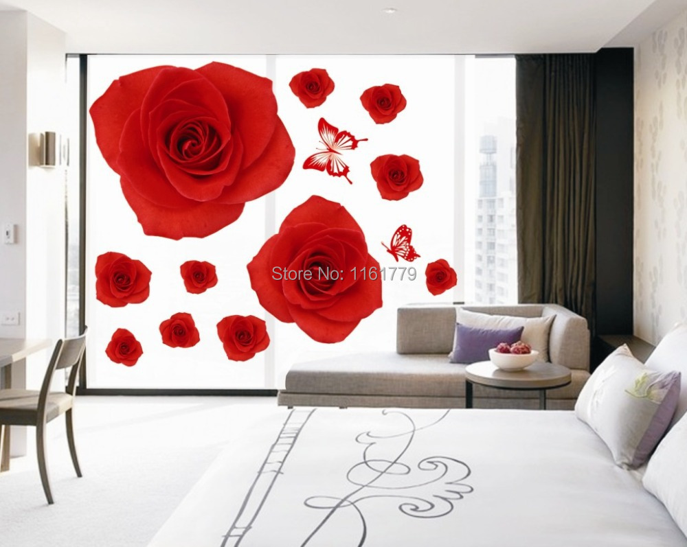 Rose Wall Decor popular red rose wall decor-buy cheap red rose wall decor lots