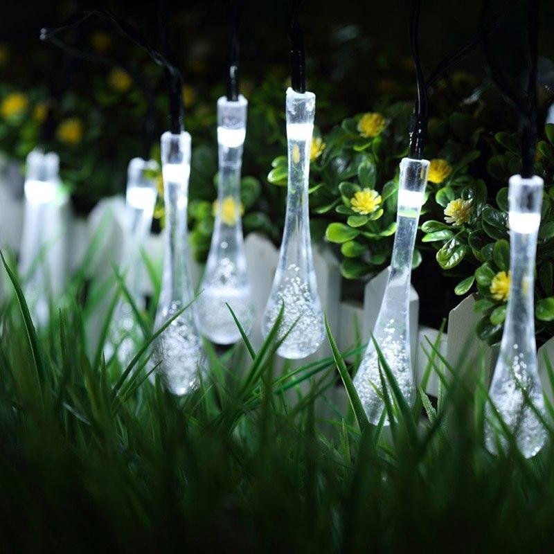 Neue 20 LED Solarbetriebene Wassertropfen Lichterketten LED Fairy Light Hochzeit Weihnachten Party Festival Outdoor Indoor Decor
