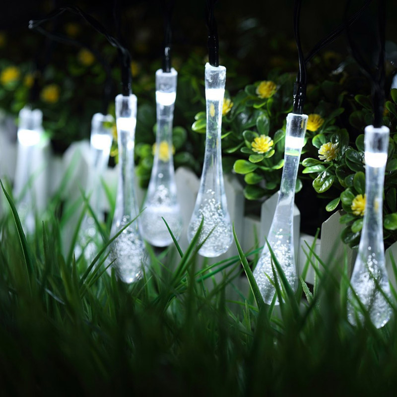 New 20 Led Solar Powered Water Drop String Lights Led