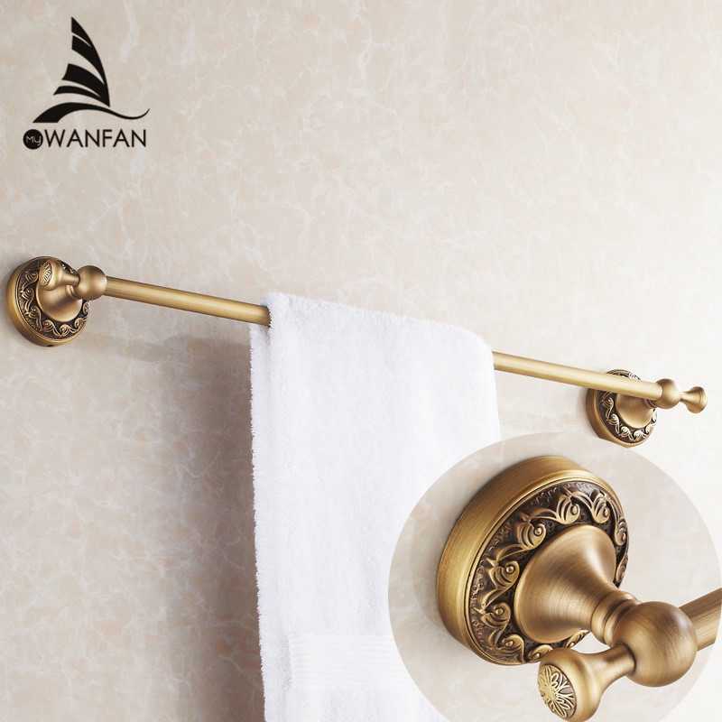 Towel Bars 60cm Single Rail Brass Antique Towel Holder Bath Shelf Towel Hanger Wall Mounted Bathroom Accessories Towel Rack 3710 new and brief 4 swivel towel bars copper wall mounted black bathroom towel rail rack bathroom towel holder folding towel hanger