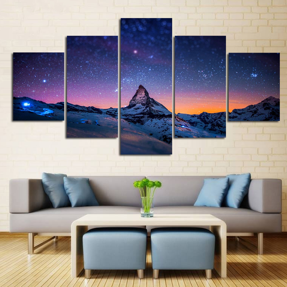 Canvas Hd Prints Poster Home Decor 5 Panels Starry Night