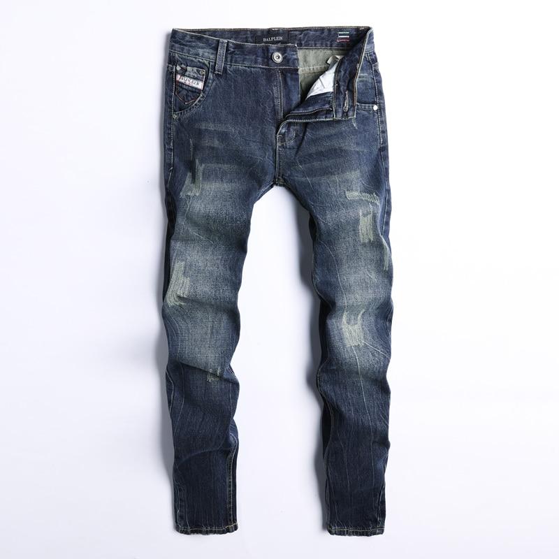 Fashion Classical Men Jeans Dark Blue Color Straight Fit 100% Cotton Ripped Jeans For Men Denim Pants Vintage Brand Jeans Homme