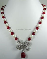 3 Color Green Red Jade Black White Pearl Necklace Bow Inlay Crystal Pendant Silver Hook