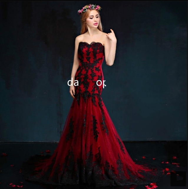 rojo y negro encaje sirena vestidos de novia de tul vestido de novia