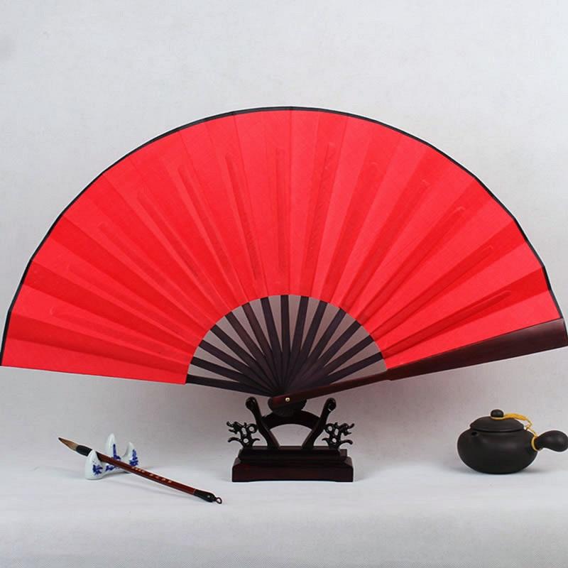 Large DIY Blank Folding Hand Fans Personalized Bamboo Chinese Fan Fine Art Painting Programs Wedding Silk Fan White Black Gold