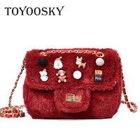 TOYOOSKY Women Fur Bag 2017 New Clutch Women Shoulder Messenger Bag Mini Badge Christmas Crossbody Bag