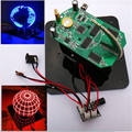 Free Shipping Factory Price DIY Spherical Rotating LED Kit POV Soldering Training Kit blue and red with TTL serial downloader