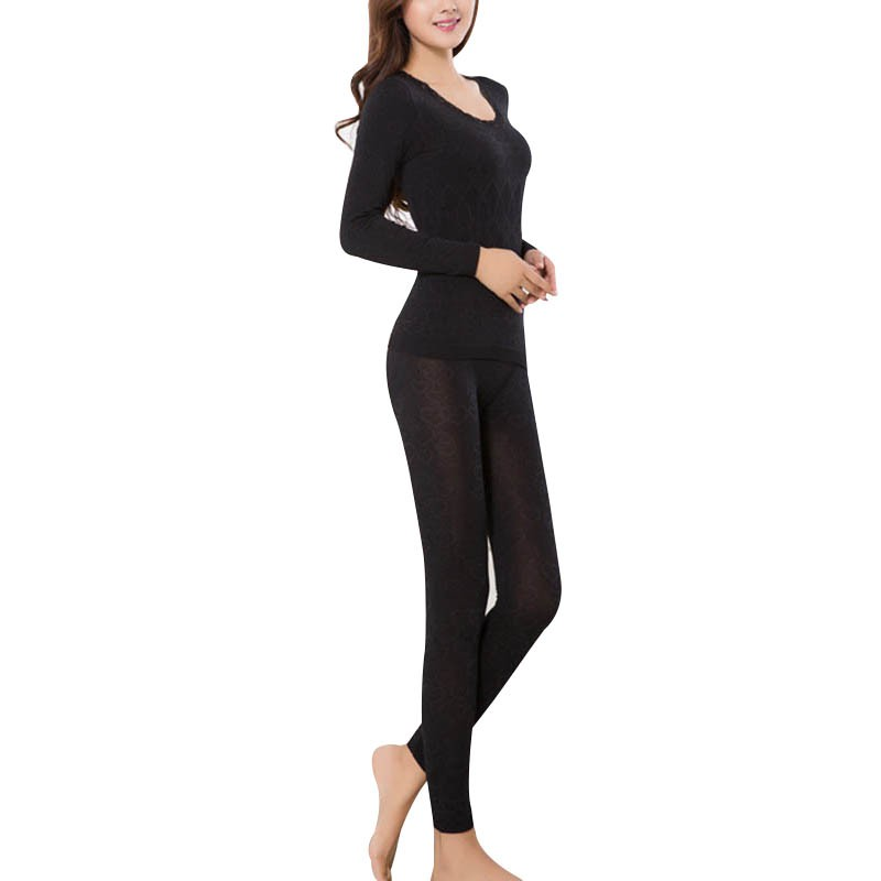 New Women Warm Long Johns Winter Clothing Lace Neck Female Long-sleeve Intimate Pajama Suit Keep Warm Underwear S4