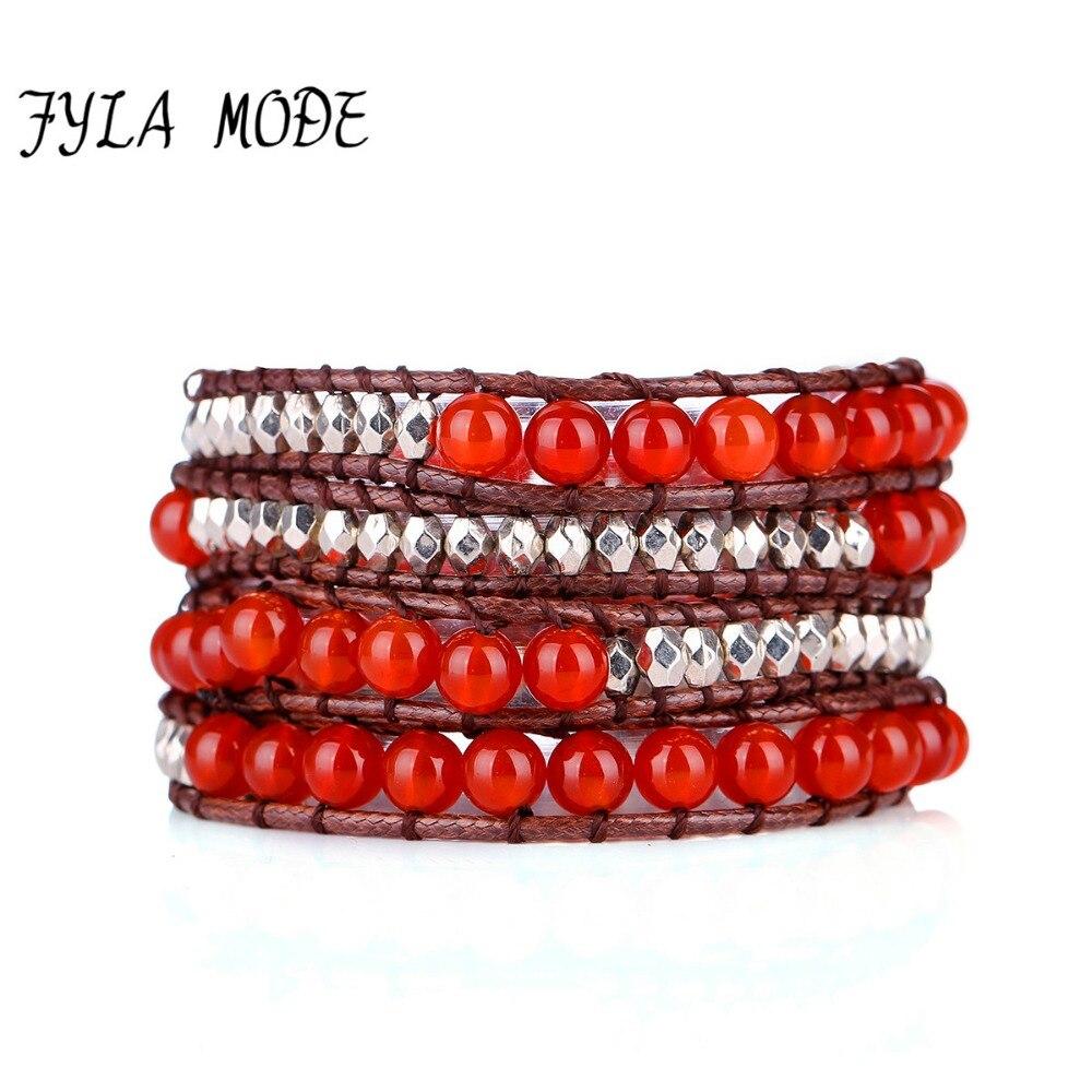 Único 4 vertentes americano pulseira de pedra vermelha frisado tecido pulseira com selecionado ccb contas de prata cera couro envoltório pulseiras