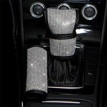 Роскошные Алмазные хрустальные автомобильные аксессуары, чехол для ручного тормоза, автомобильные воротники для переключения передач, чехол рулевого колеса автомобиля, USB зарядное устройство
